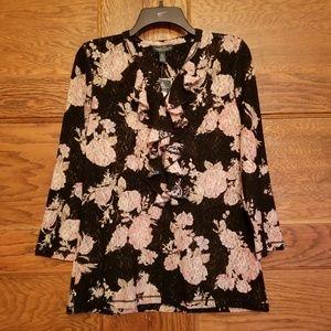 LRL Lauren Jeans Co.Womens Floral Lace Top